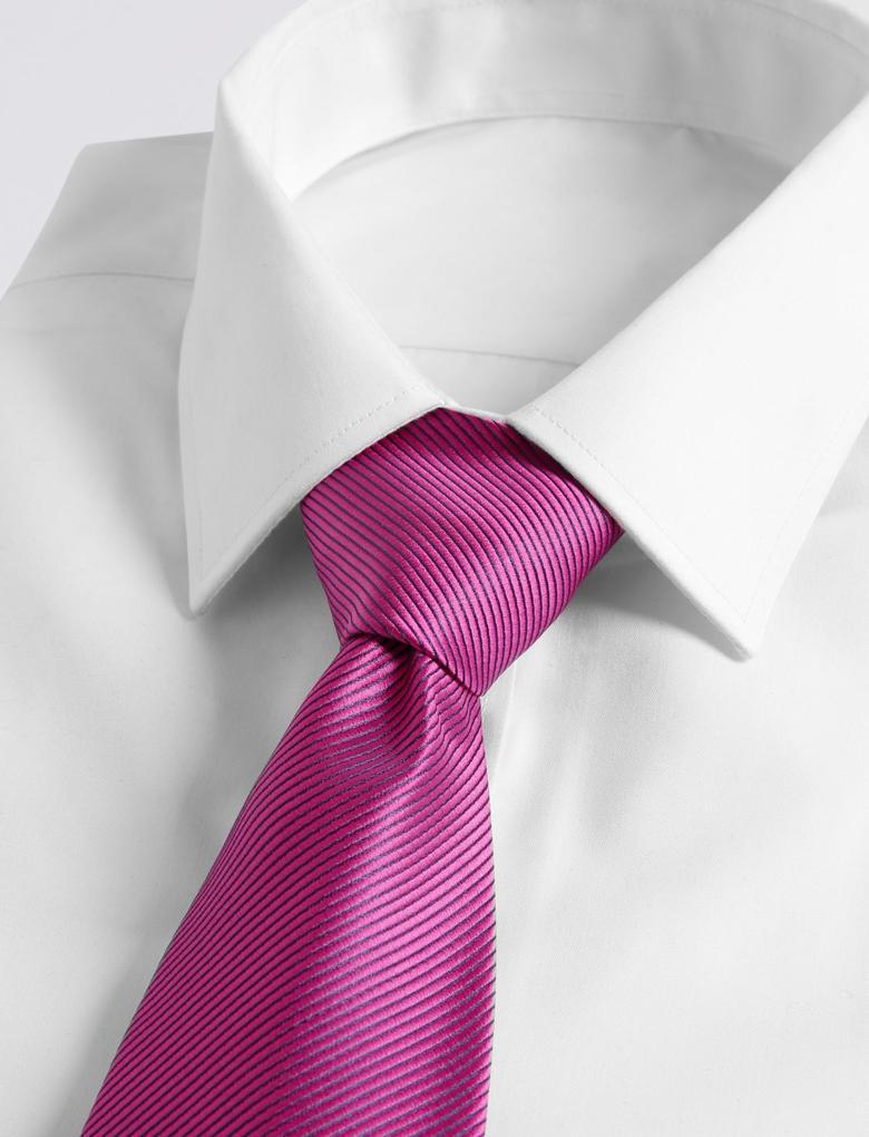 Pembe Düz Renkli Kravat