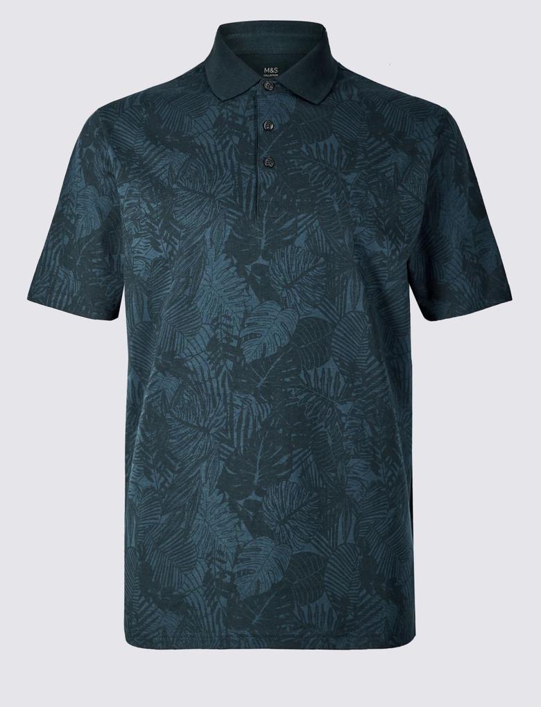 Lacivert Saf Pamuklu Çiçek Desenli Polo Yaka T-Shirt