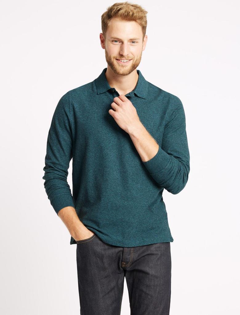 Yeşil Erkek Saf Pamuklu Polo Yaka T-Shirt