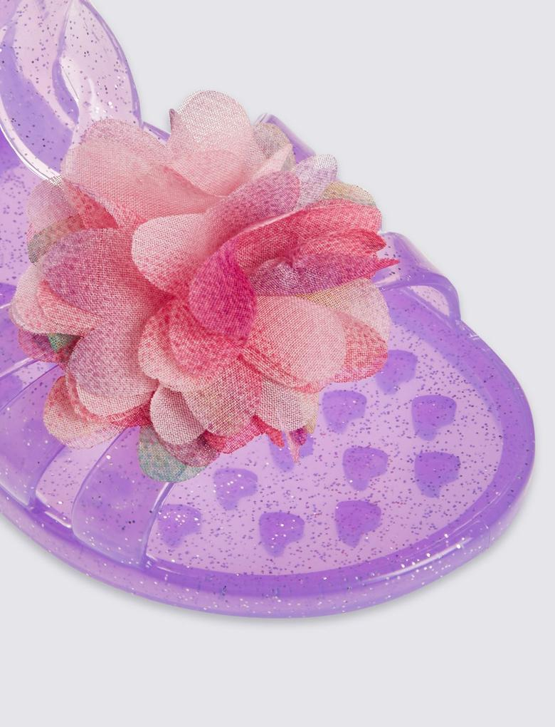 Pembe Çiçekli Jel Sandalet