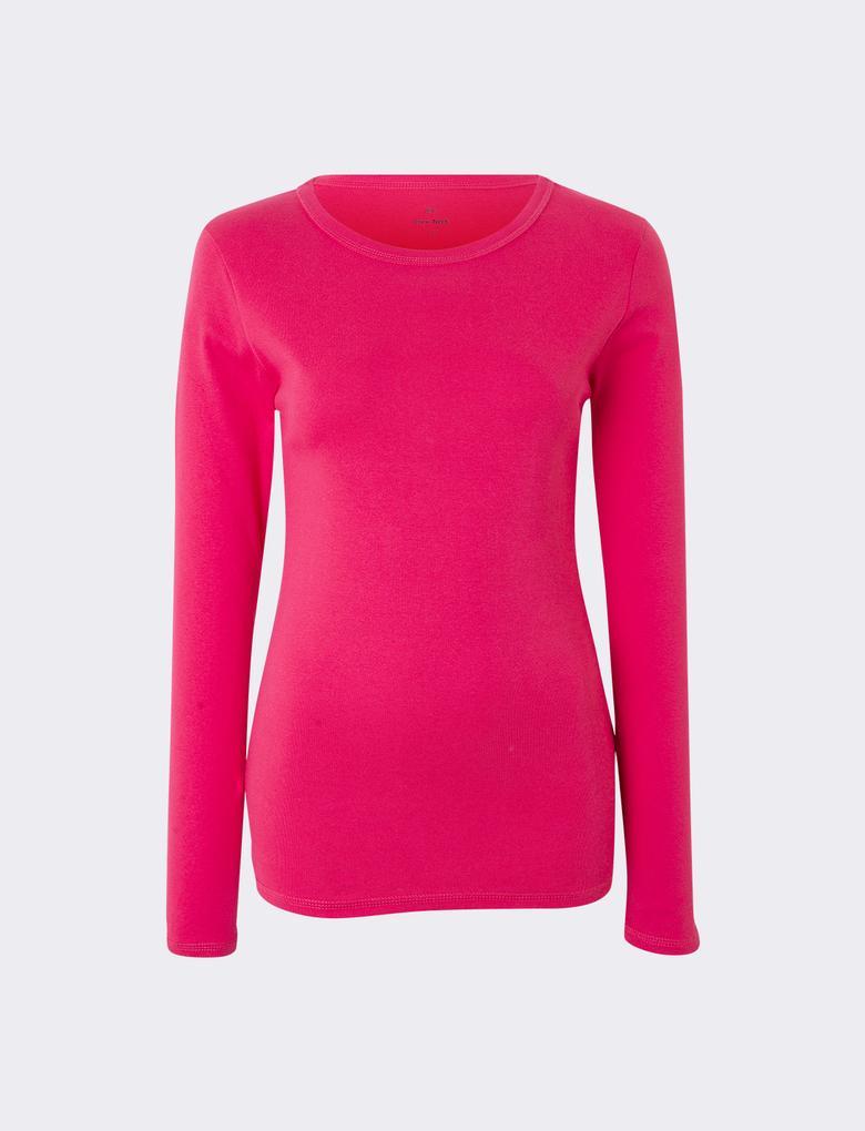 Kadın Pembe Saf Pamuklu Yuvarlak Yaka Uzun Kollu T-Shirt