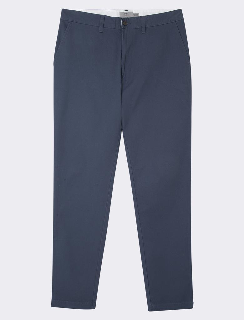 Erkek Mavi Saf Pamuklu Slim Fit Chino Pantolon