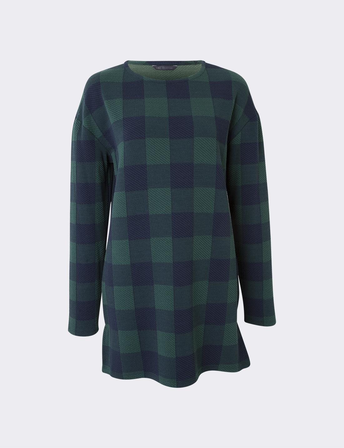 Uzun Kollu Ekose T-Shirt