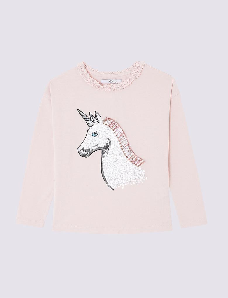 Uzun Kollu Unicorn Desenli T-Shirt