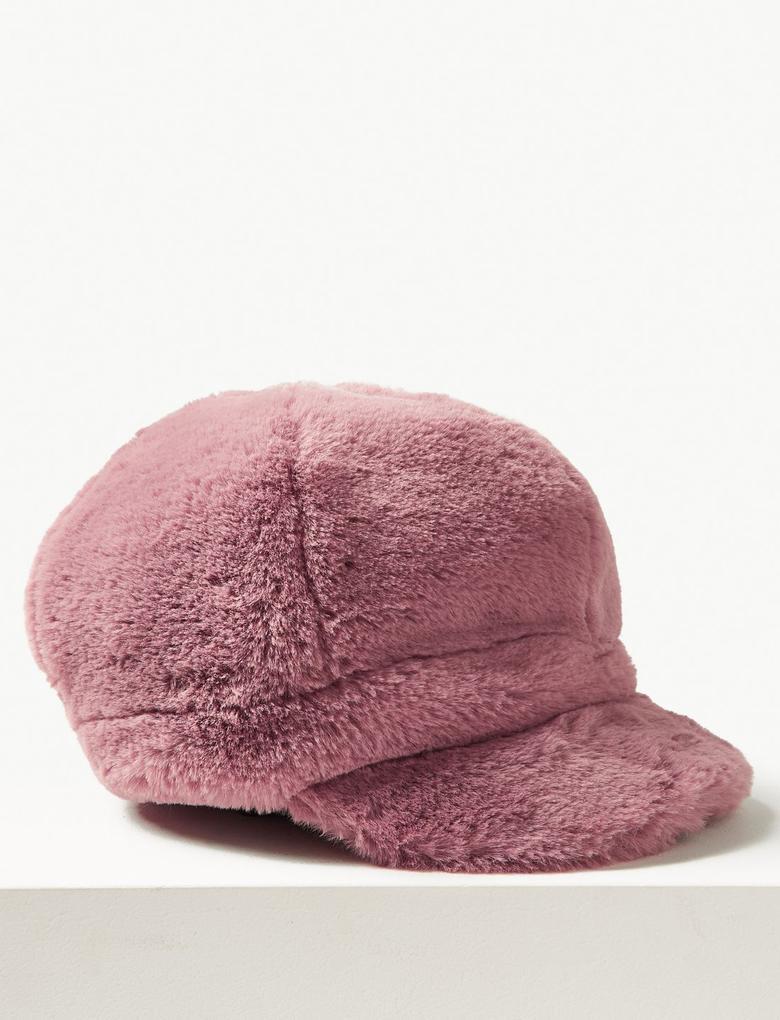 Kadın Pembe Suni Tüylü Kasket Şapka