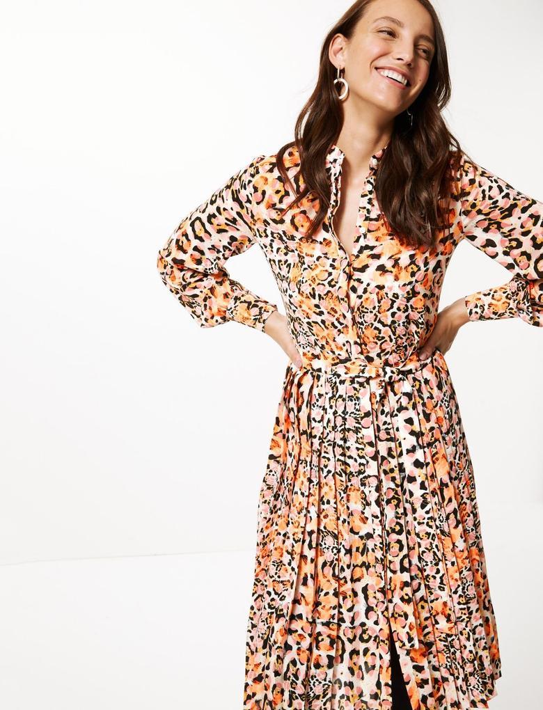 Desenli Uzun Kollu Midi Elbise