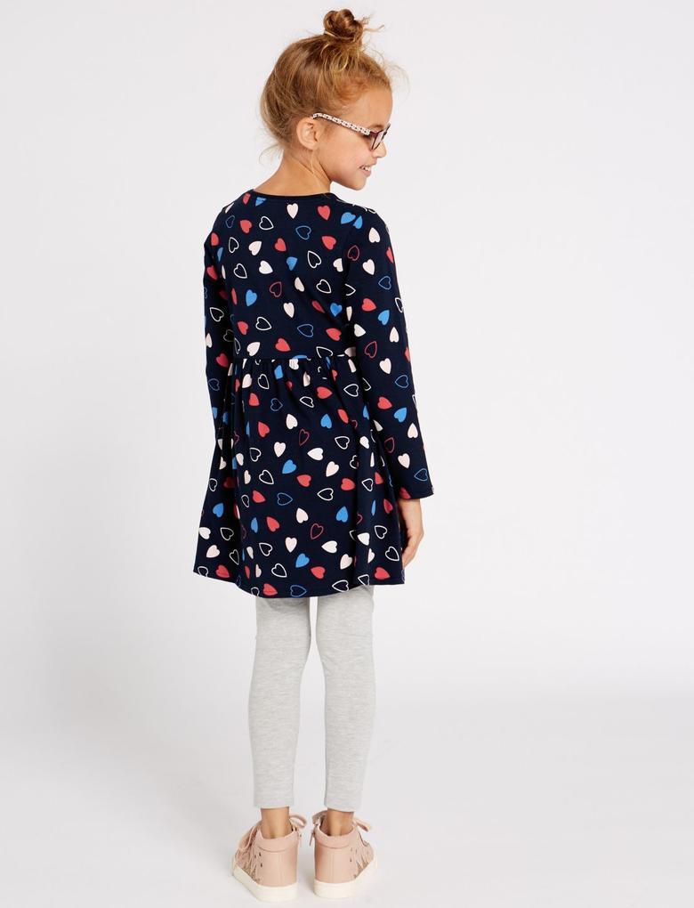 Kalp Desenli Elbise