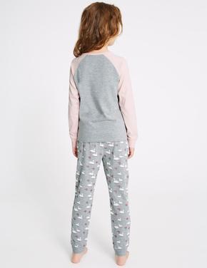 Kuğu Desenli Pijama Takımı