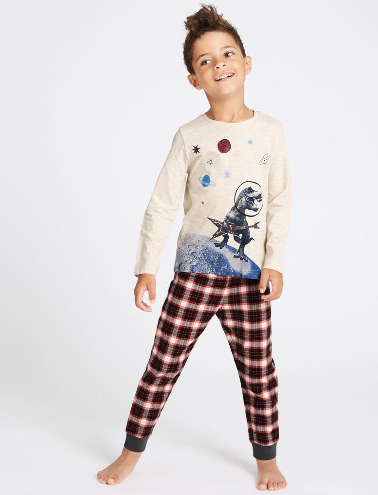 Erkek Çocuk Multi Renk Uzaylı Dinozor Desenli Pijama Takımı