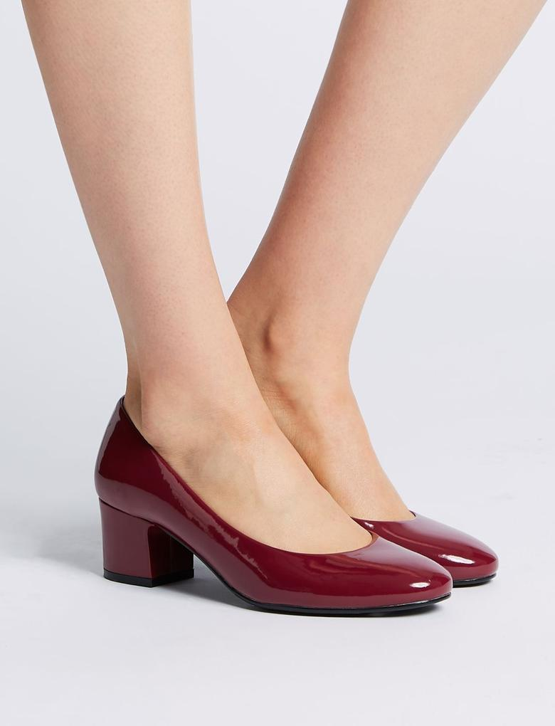 Mor Geniş Kalıplı Kalın Topuklu Ayakkabı