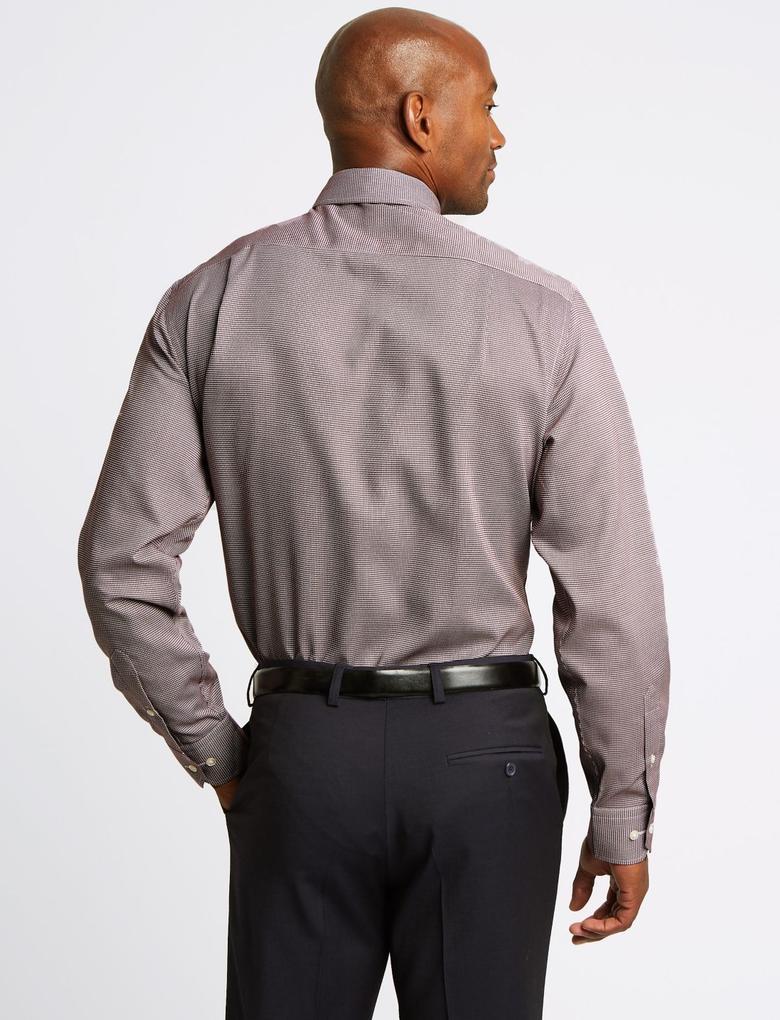 Saf Pamuklu Ütü Gerektirmeyen Cepli Gömlek