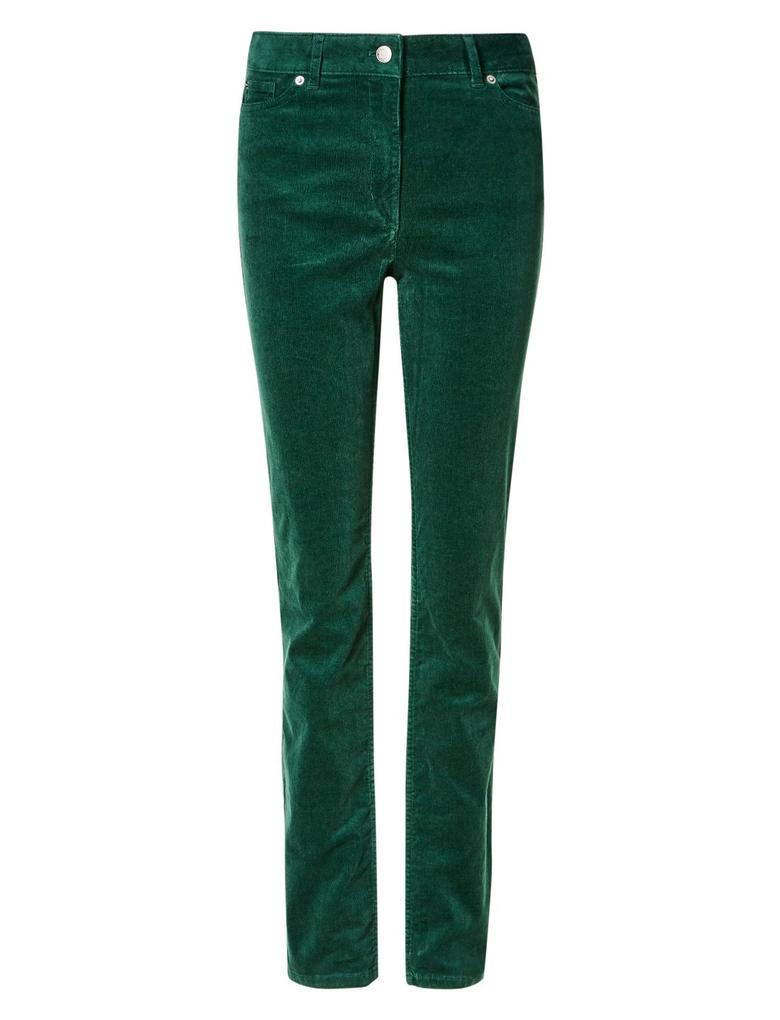 Yeşil Kadife Straight Leg Pantolon