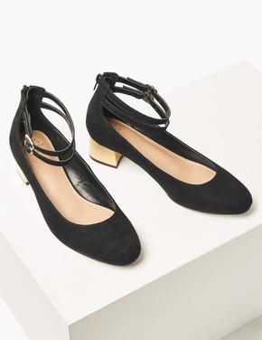 Geniş Kalıplı Metal Topuklu Ayakkabı