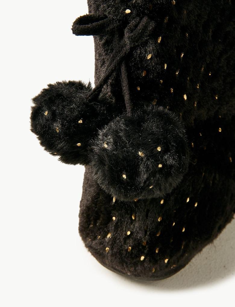 Kadın Siyah Pırıltılı ve Ponponlu Ev Botu