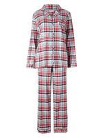 Saf Pamuklu Uzun Kollu Ekose Pijama Takımı