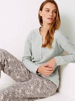 Pamuklu Uzun Kollu Pijama Üstü