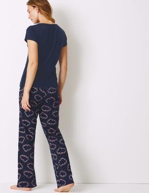 Saf Pamuklu Bulut Desenli Pijama Takımı