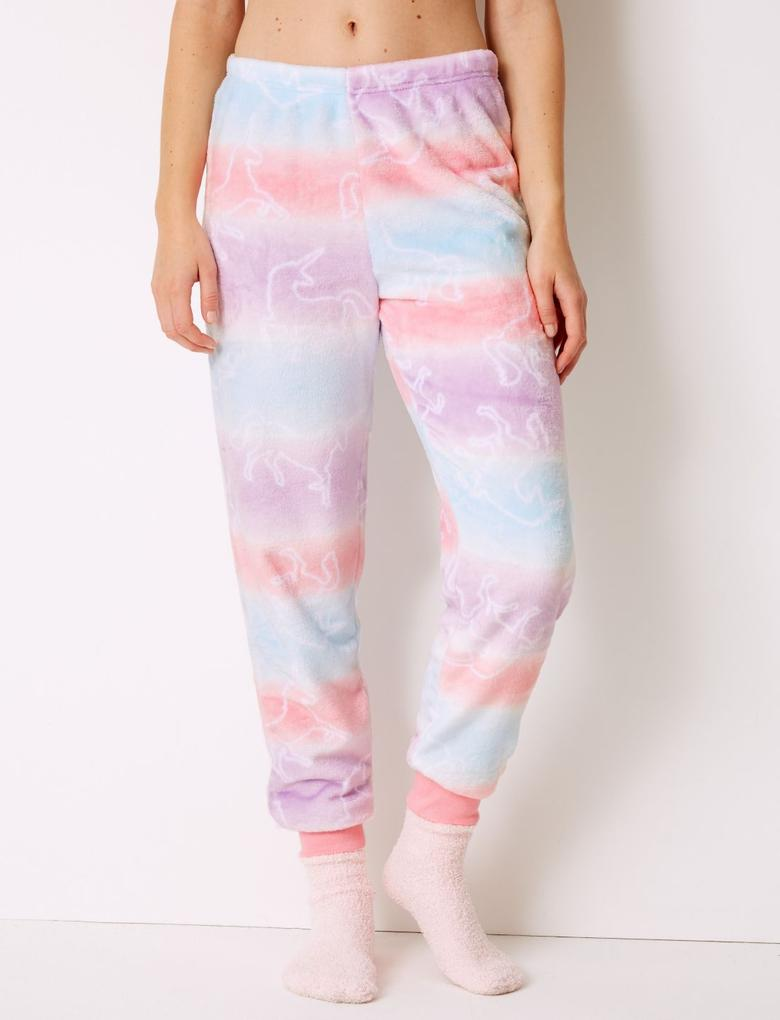 4 Parça Unicorn Desenli Polar Pijama Takımı