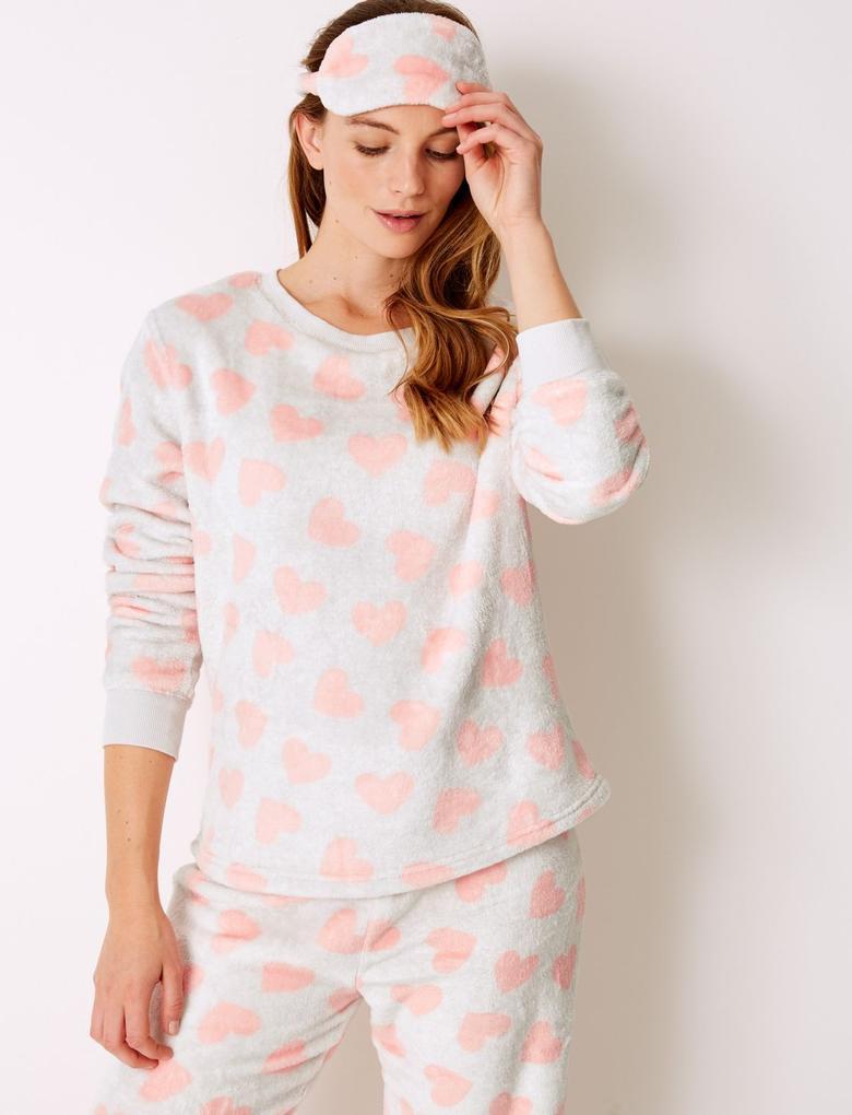 4 Parça Kalp Desenli Polar Pijama Takımı