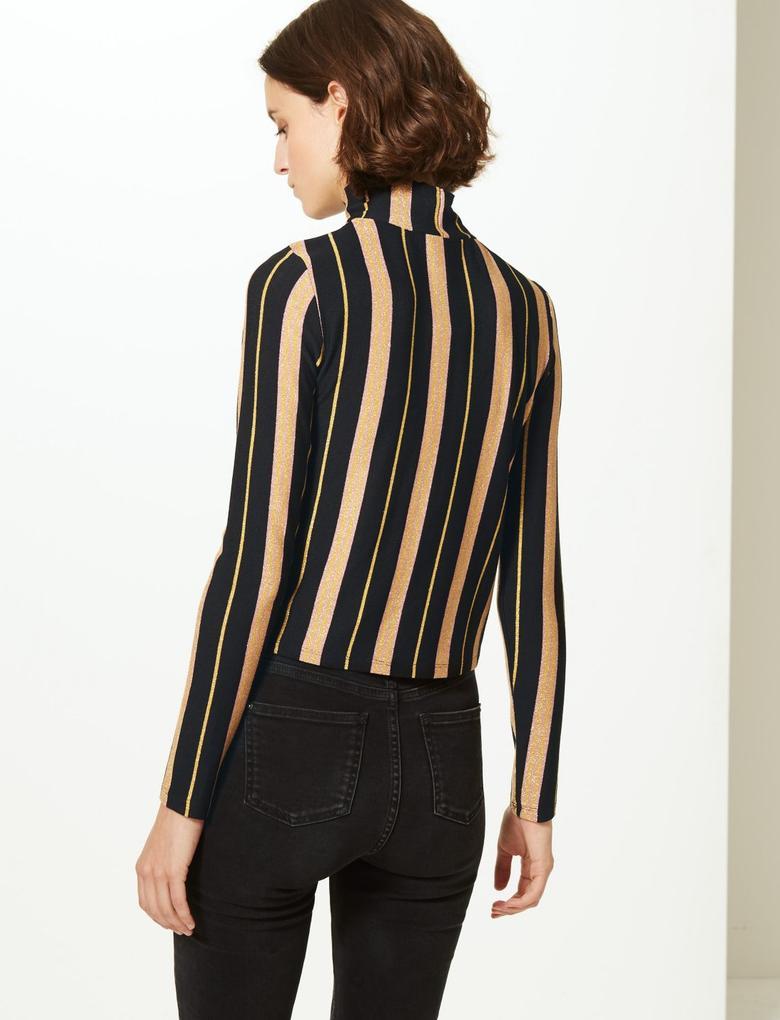 Kadın Siyah Çizgili Uzun Kollu Bluz
