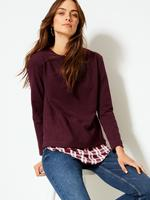 Kadın Mor Saten Yuvarlak Yaka Uzun Kollu Bluz