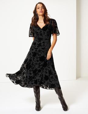 Pırıltılı Kısa Kollu Midi Elbise