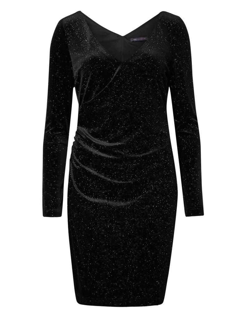 Kadın Siyah Uzun Kollu Pırıltılı Jarse Elbise