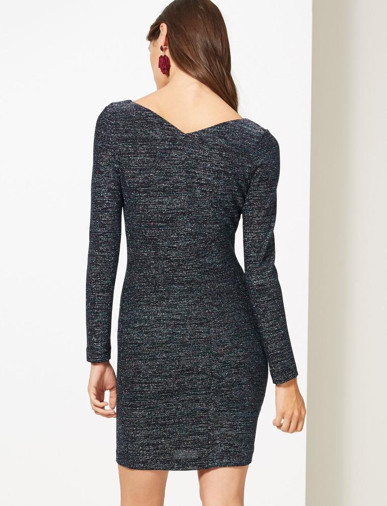 Uzun Kollu Pırıltılı Jarse Elbise