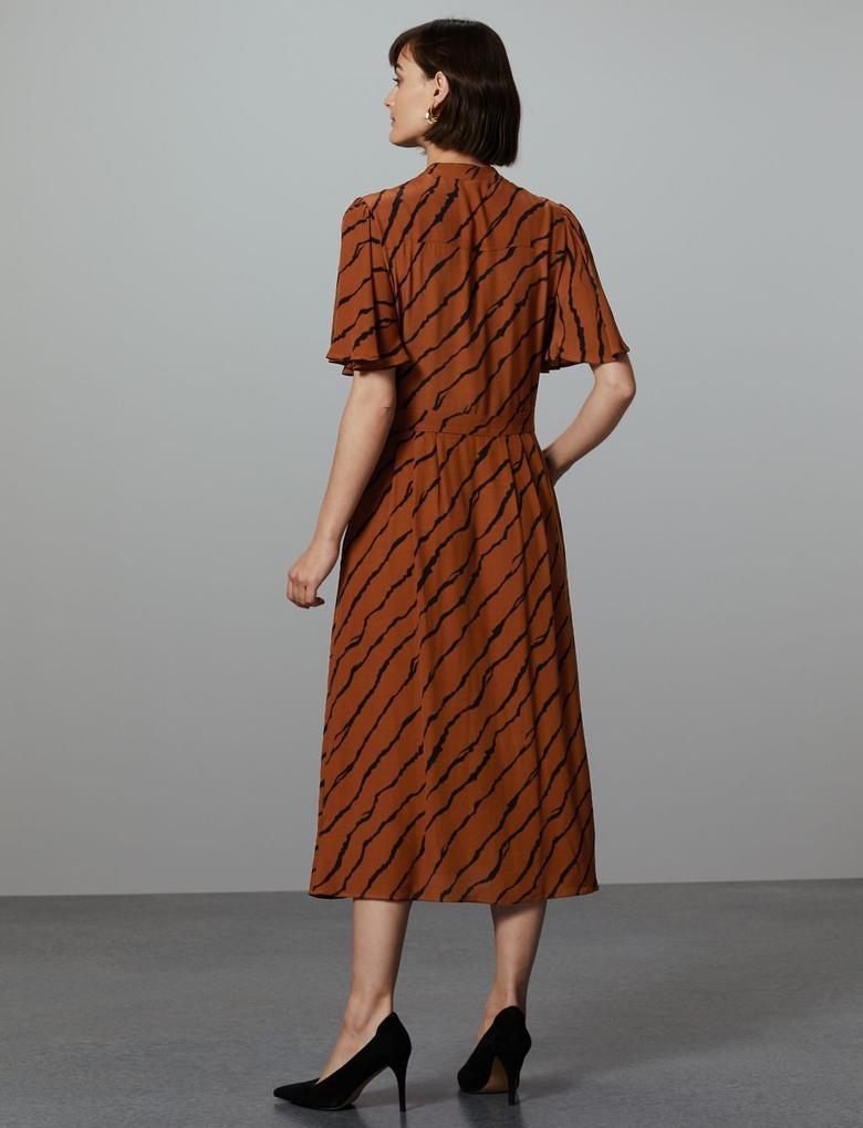 Desenli Yarım Kollu Midi Gömlek Elbise