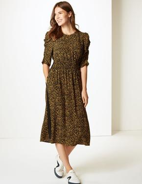 Desenli Yarım Kollu Midi Elbise
