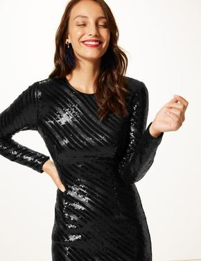 Siyah Pırıltılı Uzun Kollu Elbise