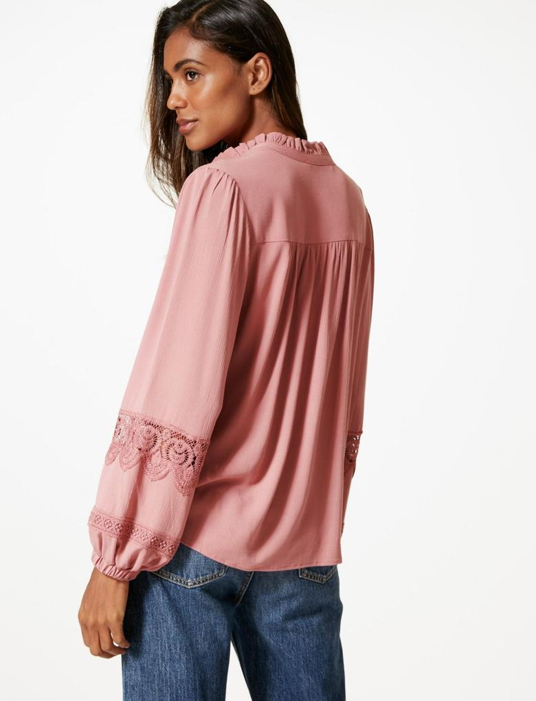 Pembe Uzun Kollu Bluz