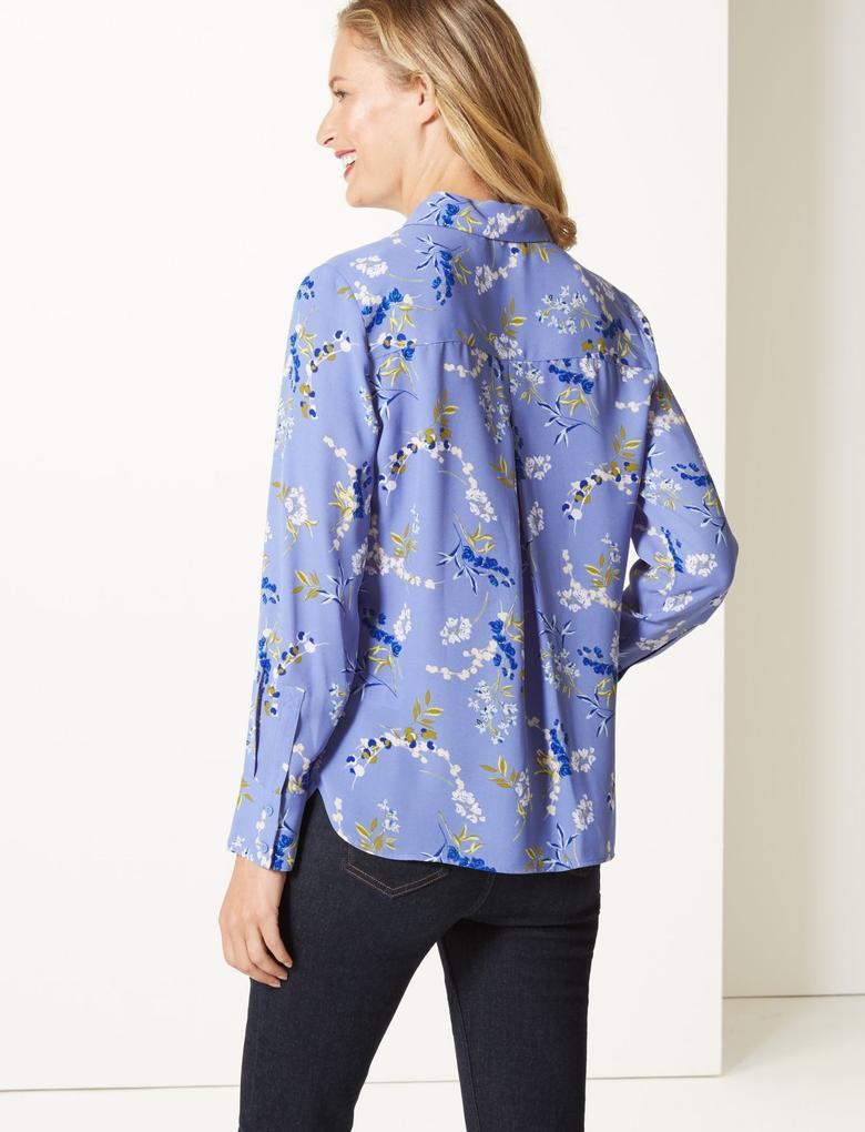 Mavi Çiçek Uzun Kollu Desenli Gömlek