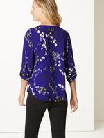 Koyu lacivert Uzun Kollu Desenli Bluz