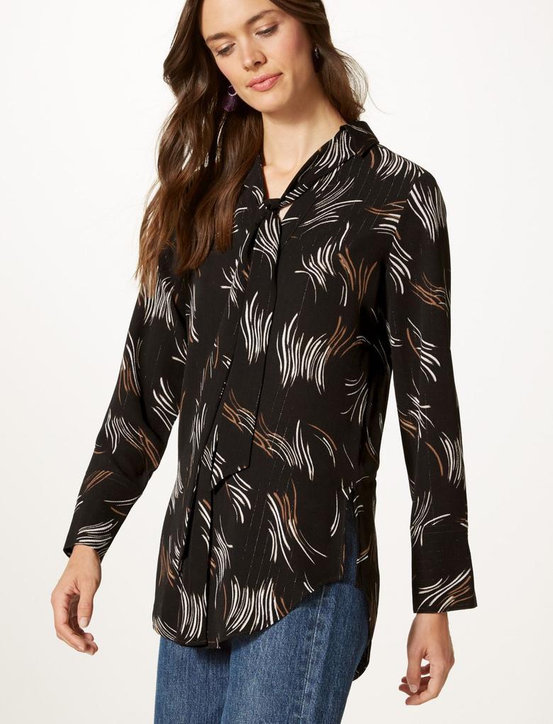 Kadın Siyah Desenli V Yaka Uzun Kollu Bluz