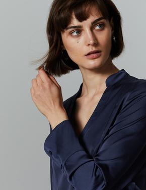 Desenli Uzun Kollu Saten Bluz