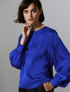 Saten Yuvarlak Yaka Uzun Kollu Bluz