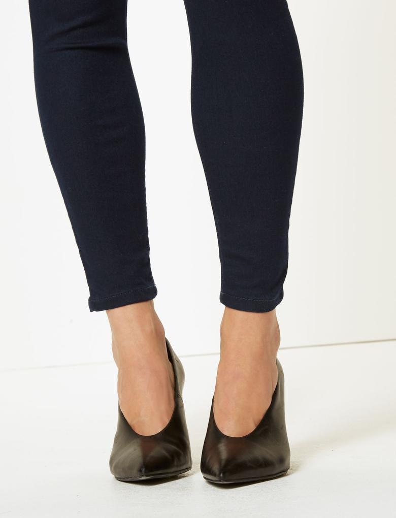 Kadın Lacivert Orta Belli Super Skinny Jean Pantolon