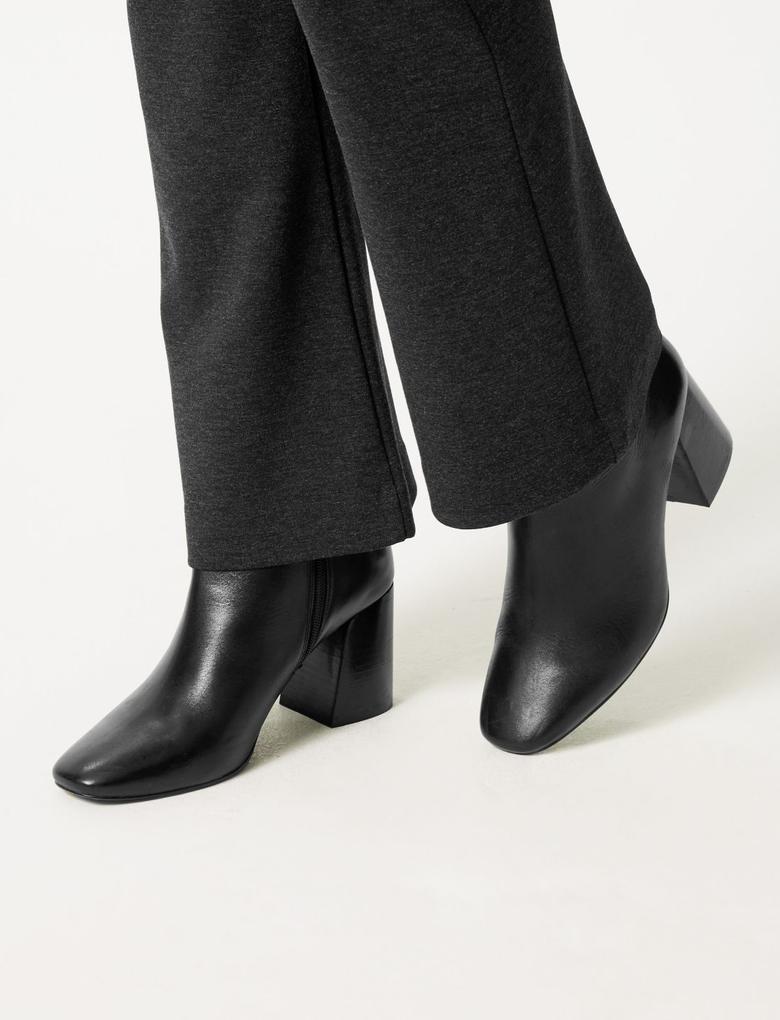 Kadın Gri Ponte Slim Bootcut Pantolon