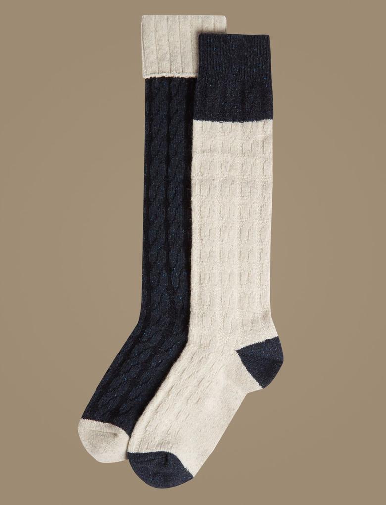2'li Termal Diz Üstü Çorap Seti