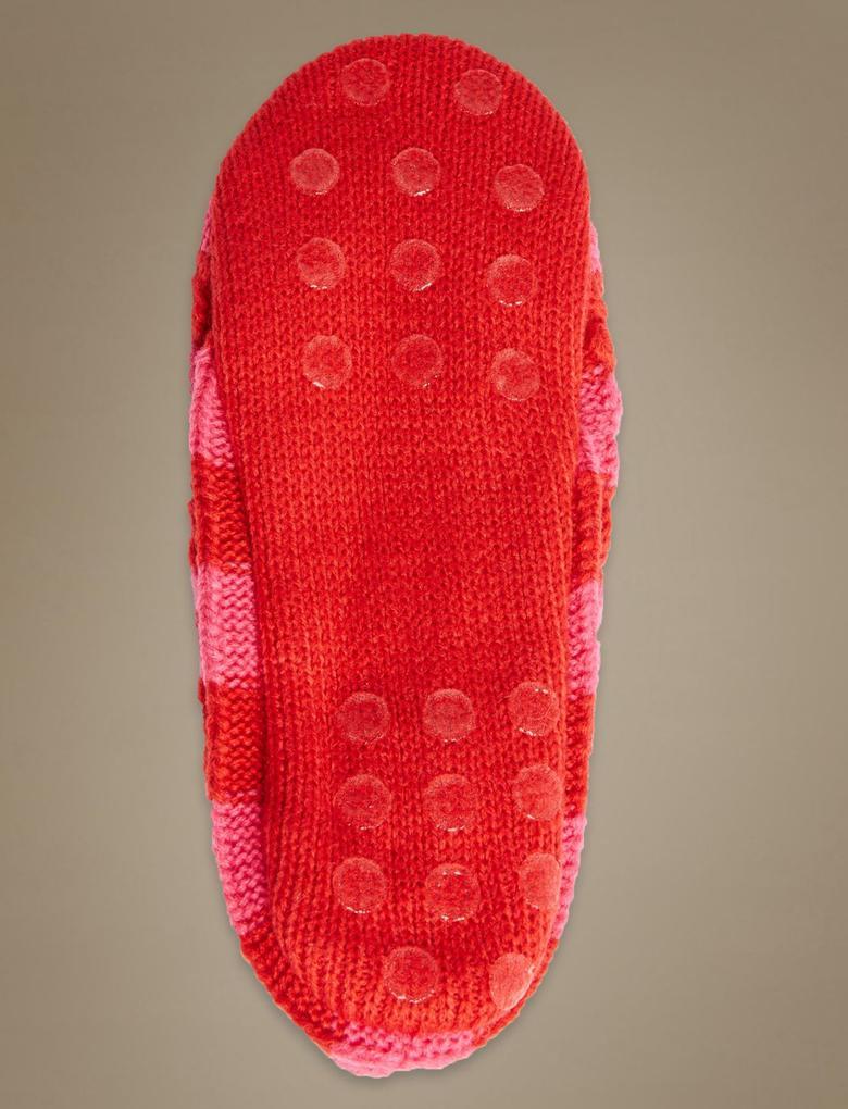 Kadın Kırmızı Çizgili Babet Terlik Çorap