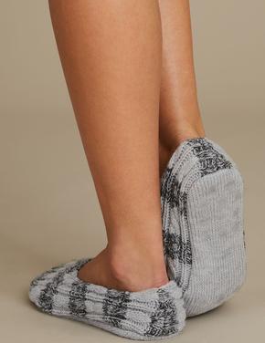 Çizgili Babet Terlik Çorap