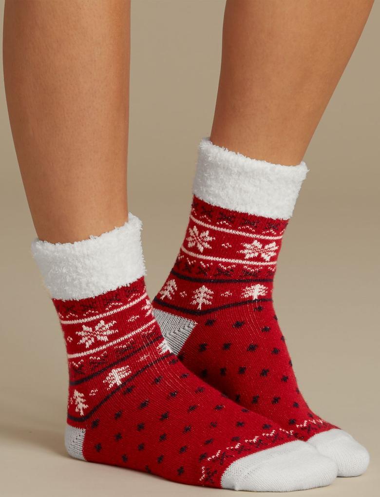 Kırmızı 2'li Yumuşak Dokulu Çorap Seti