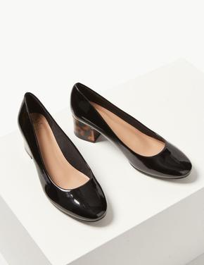 Siyah Geniş Kalıplı Kalın Topuklu Ayakkabı