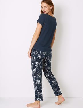 Saf Pamuklu Yıldız Desenli Pijama Takımı