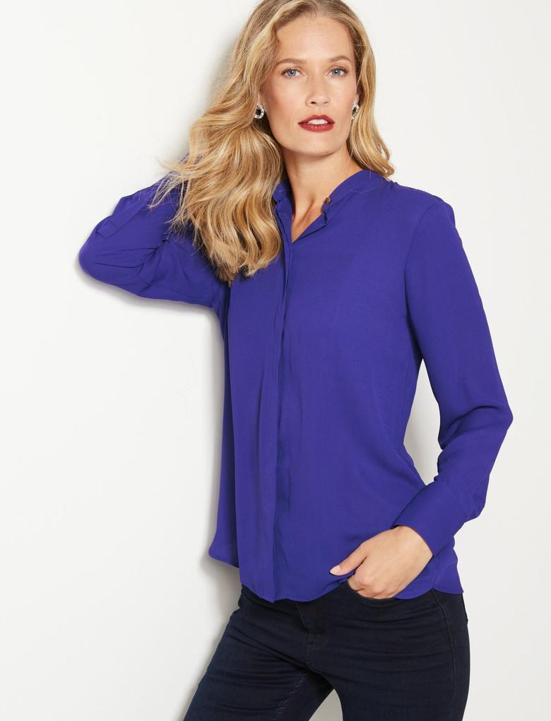 Yuvarlak Yaka Uzun Kollu Gömlek