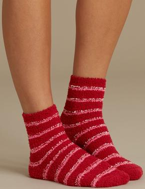 Kadın Kırmızı 2'li Yumuşak Dokulu Çorap Seti