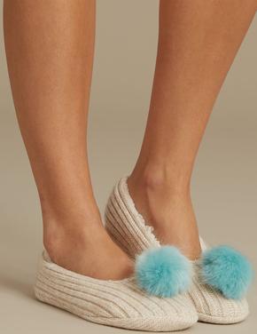 Ponponlu Babet Terlik Çorap