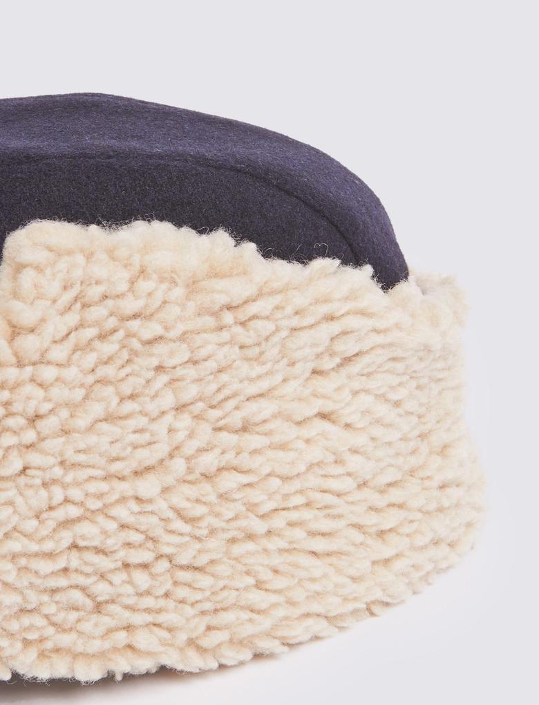 Lacivert Yünlü Şapka