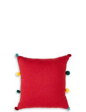 Ponponlu Geyik Desenli Yastık